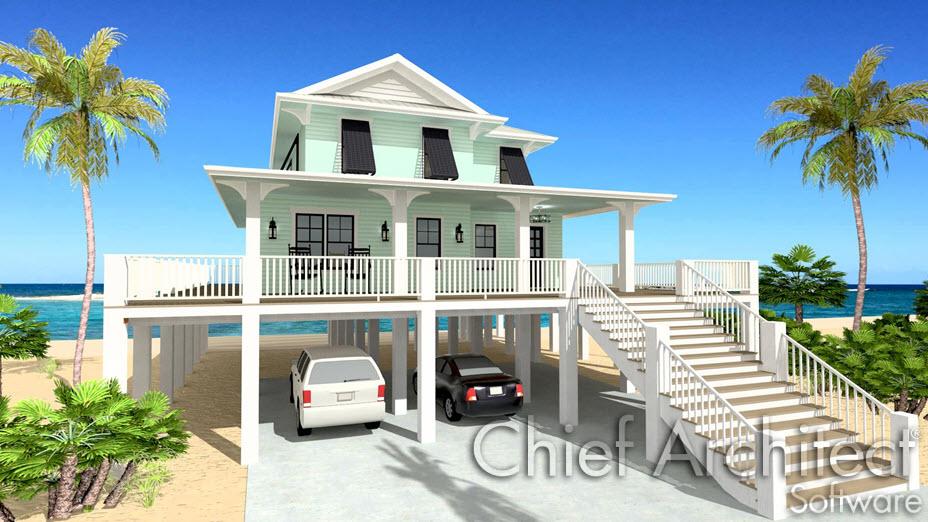 Beach home raised on piers