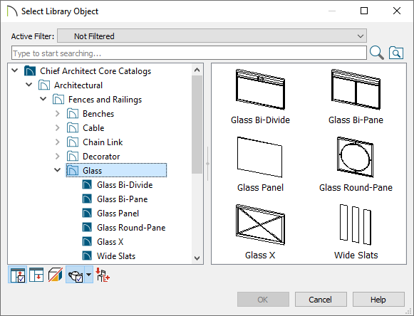 Select Library Object dialog showing Glass under Fences and Railings which is under Architectural in the Core Catalog