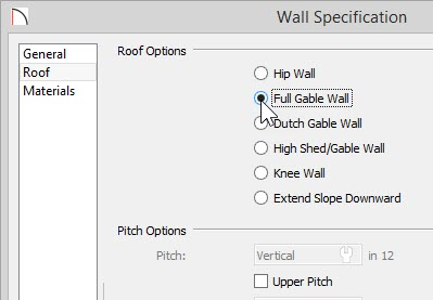 Wall Specification dialog with Full Gab le Wall specified on the Roof panel