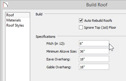 "Build Roof dialog showing 6"" in 12"" as the Pitch"