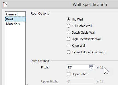 "Wall Specification dialog showing a Pitch of 12"" in 12"""
