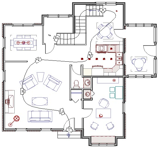 Floor plan view of house with a walkthrough path