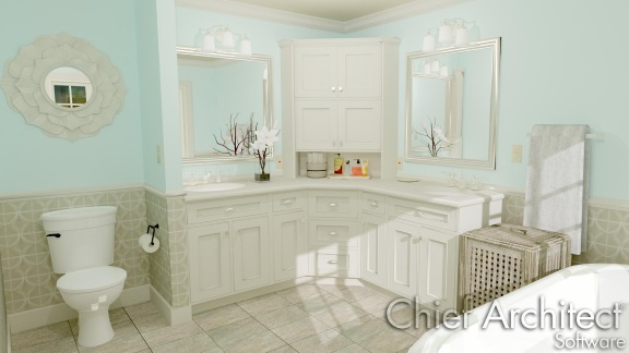 Bathroom with two sinks, bathtub and a toilet