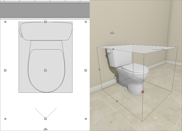 Bounding box for a toilet can be seen in 2D and 3D.