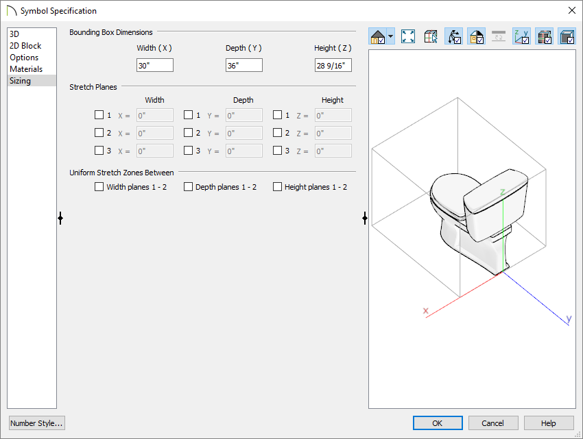 Sizing panel of the Symbol Specification dialog where bounding box properties can be adjusted