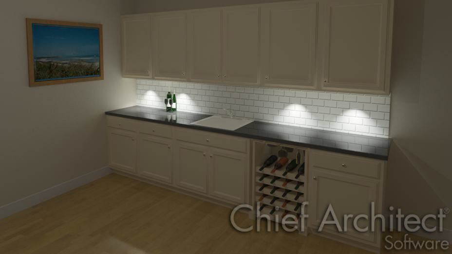 Interior wall cabinets with lights shining onto base cabinet below