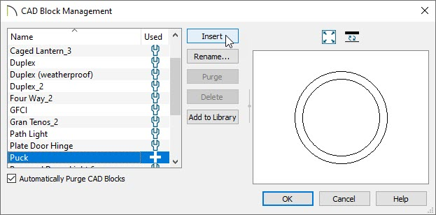 In CAD Block Management select and insert the CAD Block that needs modification.
