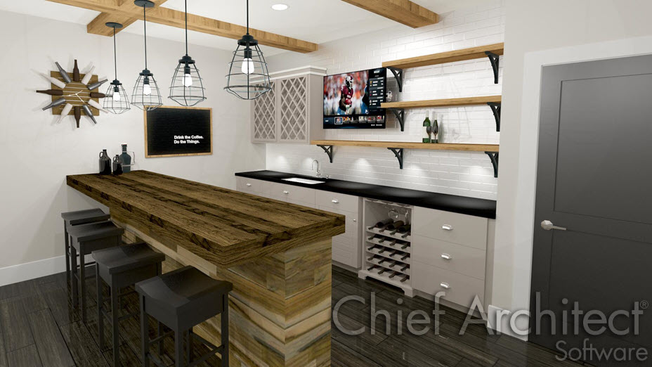 Kitchen bar with pendant light fixtures