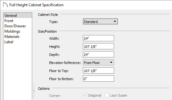 Changing the cabinet height in the specification dialog