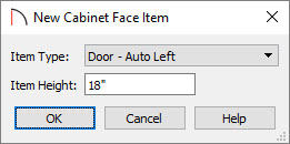 Creating a new face item for the cabinet front