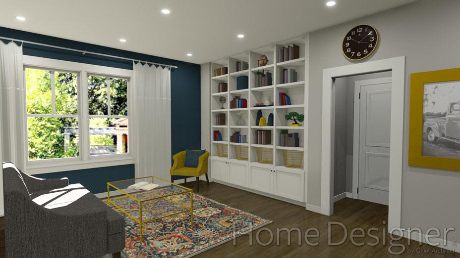 Living room with built-in bookshelves