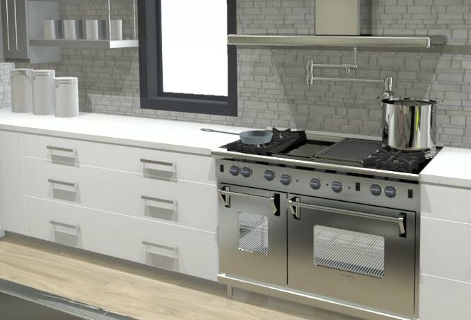 An example cooking center which includes the stove