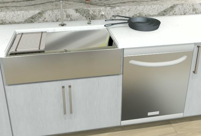 A cleanup center would include a sink and dishwasher