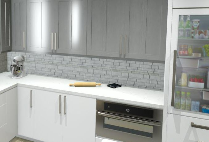 An example baking center might include spaces for a mixer, oven, and food scale