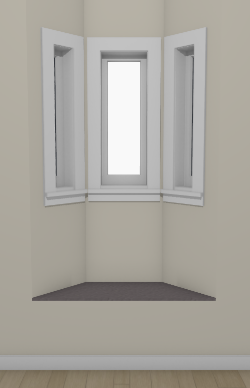 Full camera view of a bay window with a raised floor platform creating a seat
