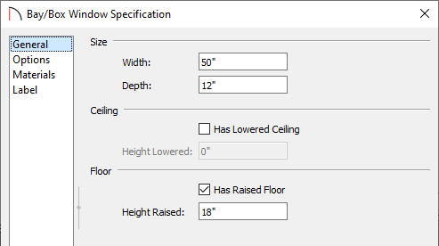 General panel of the Bay/Box Window Specification dialog