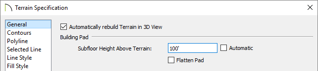 Adjusting the Subfloor Height Above Terrain value in the Terrain Specification dialog.