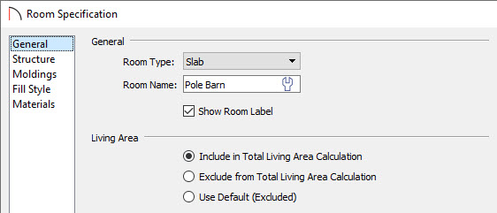 Specify the Room Type, Room Name, and Living Area calculation on the General panel of the Room Specification dialog