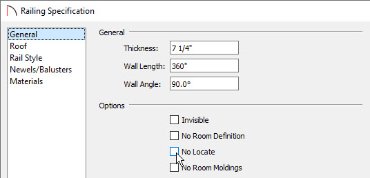 Specify the Thickness and uncheck No Locate on the General panel of the Railing Specification dialog