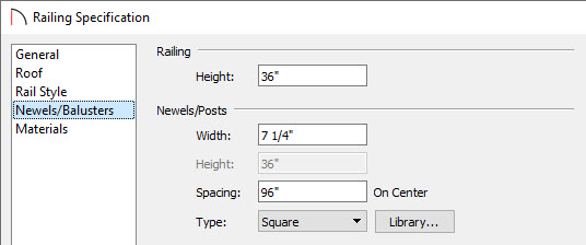Specify the Post Width, the Post Type, and the Spacing on the Newels/Balusters panel.