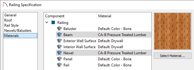 Adjust the Materials of the Beam and Newel in the Railing Specification dialog