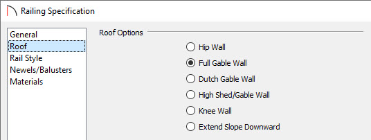 Select the Full Gable Wall option on the Roof panel of the Railing/Wall Specification dialog