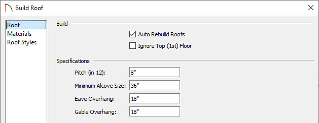 Set the Pitch and Overhangs in the Build Roof dialog
