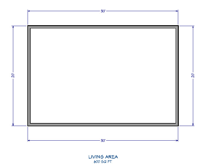 Floor plan view of a 20' x 30' rectangular structure