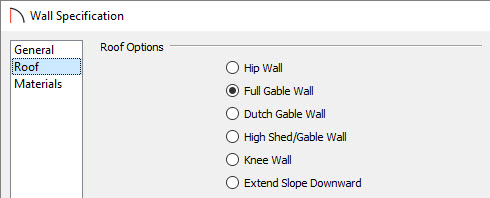 Wall Specification Roof Dialog Box