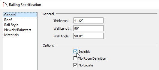 railing specification dialog box for attached porch