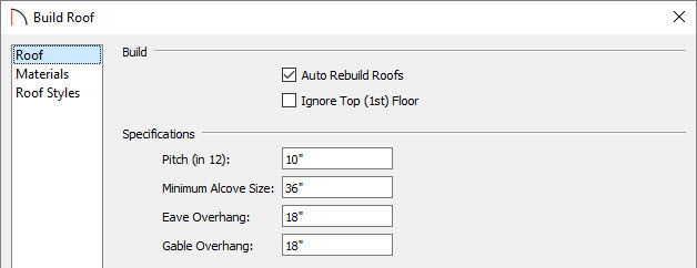 build roof dialog box for attached porch roof options