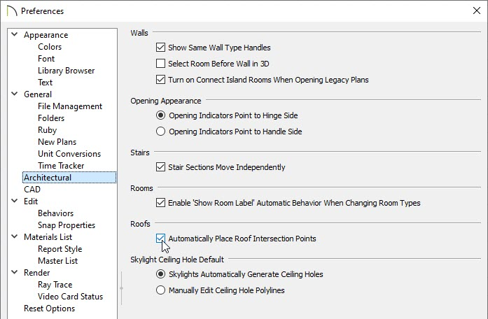 Check the Automatically Place Roof Intersection Points on the Architectural panel of the Preferences dialog