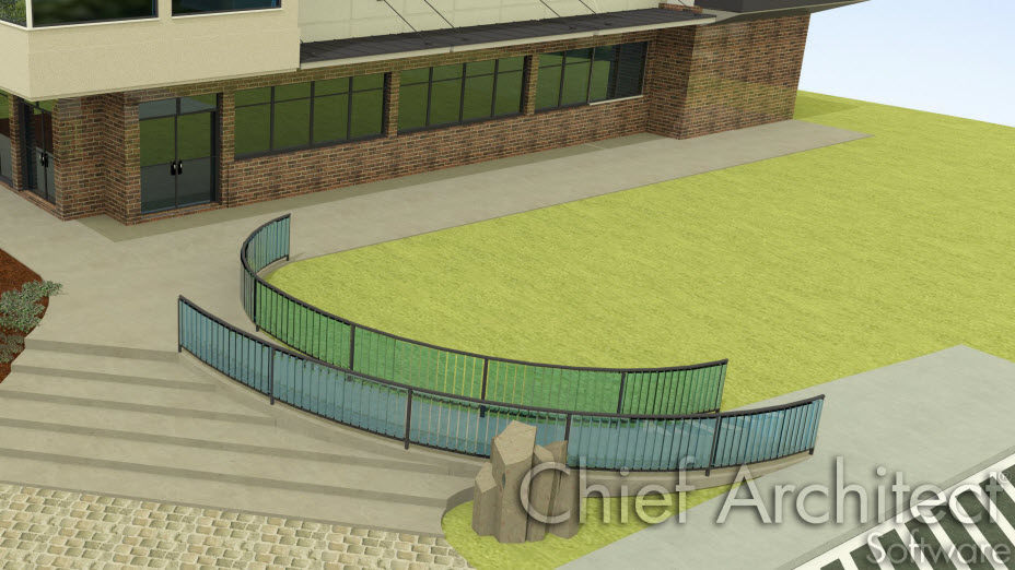 Curved accessibility ramp with glass railing
