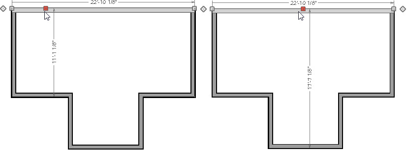 Dimensions based are based on where you click