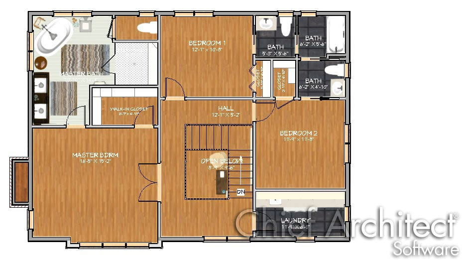 Floor plan image with textures displayed