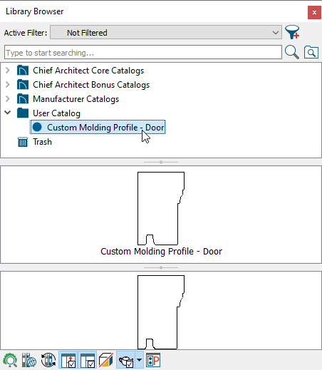 Custom molding profile has been selected in the User Catalog
