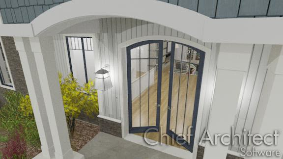 exterior front door entry with arched glass double doors partially open