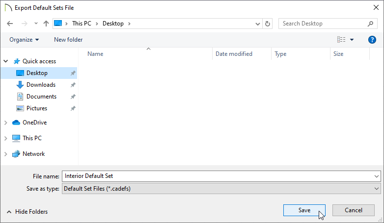 Export Default Sets File dialog