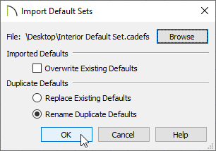 Import Default Sets dialog