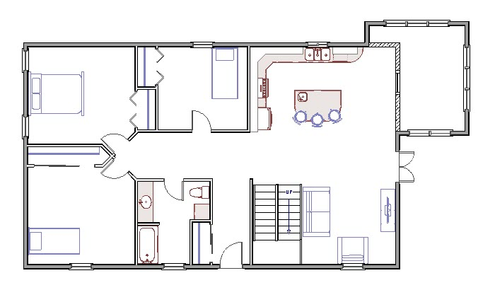 Floor plan showing room addition with walls and window hatched to identify as DEMO walls
