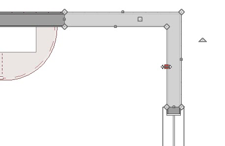 Two wall ends that meet in corner covered by a polyline