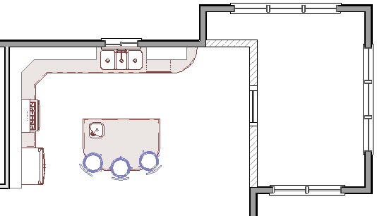 Demolished window represented by CAD boxes and CAD lines