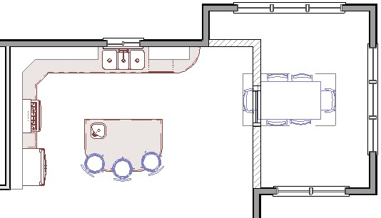 Floor plan view showing new dining room table in room addition where demolished walls were