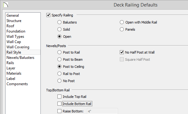 Deck Railing Defaults dialog with Open, Post to Ceiling and No Half Post at Wall options selected, Include Top Rail and Include Bottom Rail deselected