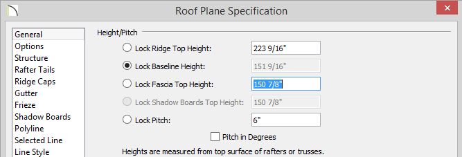 Roof Plane Specification dialog with 150 7/8 set for Fascia Top Height