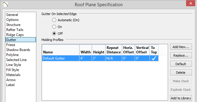 Roof Plane Specification - Removing the option to have a gutter