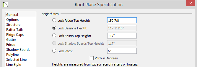 Roof Plane Specification dialog with 150 7/8 entered for Ridge Top Height