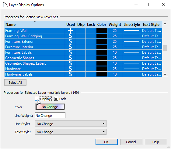 Turning the display of all layers off within the Layer Display Options dialog