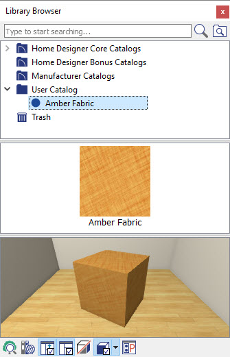 Custom material added to the User Catalog