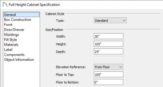 General panel of the Full Height Cabinet Specification